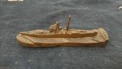 Military Antique Launching Ceremony Metallic Paperweight Warship Vintage Japan