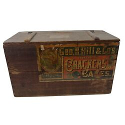 Antique Crackers And Cakes George R. Hill And Coand039s Alexandria Va Wood Crate Box