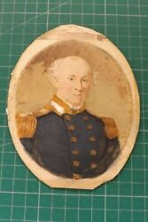1800s Fine Framed Miniature Painting A Naval Officer In Uniform 17cms By 14cms