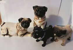 Pug Dog Salt And Pepper Shakers Lot Of 2 Setsa Kissing Fawn And Black And Pr Of Fawns