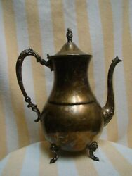 Vintage Sheridan Silver Plate On Copper Tea / Coffee pot 10.5 With Hinged Lid