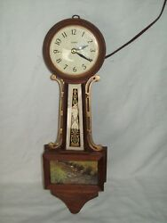 Vintage United Banjo Clock Electric Movement Working Condition