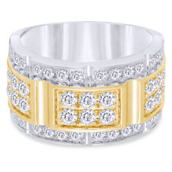 Menand039s 2.00 Ct Round Cut Diamond Brick Style Ring In 10k Two-tone Gold
