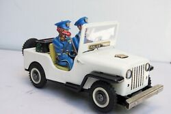 Vintage Made In Japan Nomura Toy Police Dept Tin Toy Car Telephone Operator Jeep