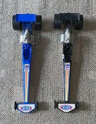 Processed Plastic Dragsters Lot Of 2  Blue And Black Nhra Top Eliminator