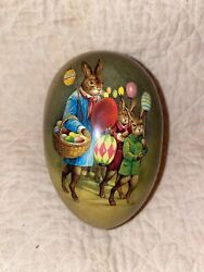 Vintage Easter Bunny Paper Mache Lithograph Candy Container Easter Egg