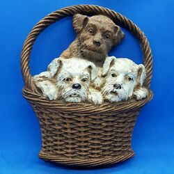 Vintage Wall Hanging Basket Of Puppies By Ornawood Like Syroco Original Label