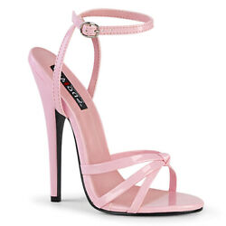Devious Domina-108 Baby Pink Patent 6andldquo Wrap Around Knotted Strap Sandal