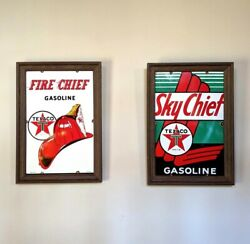 Lot Of 2 Vintage Texaco Gas Pump Plate Porcelain Metal Signssky Fire Chief 1956