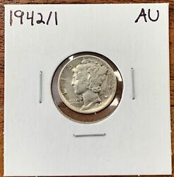 1942/1 Mercury Dime About Uncirculated Aukey Variety