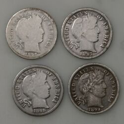 4 Pack 1896 1897 1898 1899 Barber 10c Us Minted Silver Dime Coin Lot
