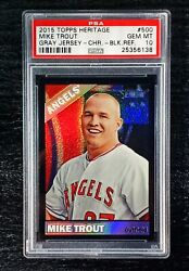 Psa 10 2015 Topps Heritage Ssp Black Chrome Refractor 500 Mike Trout /66 Angels