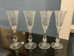 4 Cambridge Rose Point Crystal 5 1/4 - 1 Oz Cordial Goblets 3121