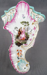 Meissen Courting Couple And Castle Floral Bugs Wall Bracket Shelf C. 1774 - 1817