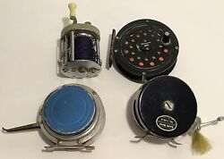 Lot Of 4 Vintage Fishing Reels Classic Usa Shakespeare South Bend Martin Fly