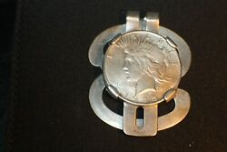 Authentic 1925 Liberty Silver Dollar Money Clip Mounted 925 Sterling Silver Clip