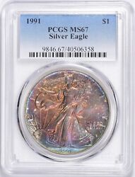 1991 1 American Silver Eagle Pcgs Ms67 Beautifully Toned Ase