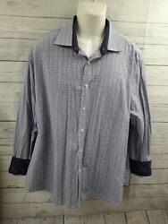 Bristol And Bull Mens Button Front Shirt White Purple Plaid Contrast Collar 3xl