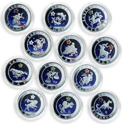 Armenia 100 Dram Set Of 12 Coins Signs Of Zodiac Colored Silver Coin 2007 - 2008