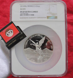 Mexican Libertad 5 Oz Proof .999 Silver Coin Mexico 2014 Ngc Pf69 Mintage Of 800