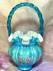 Vintage Fenton Double Signed Turquoise Blue Opalescent Ruffle Basket With White