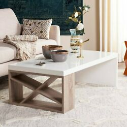 Scandinavian White Lacquer Wooden Coffee Table With Storage