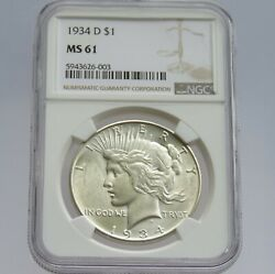 1934 D Peace Silver Dollar Ngc Ms 61 F6003