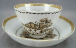 18th Century Chinese Export Hand Painted Castle Landscape Tea Cup And Saucer