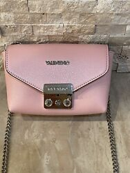 Mario Valentino Crossbody By Chain Strap Pink Leather Shoulder Bag $190.00