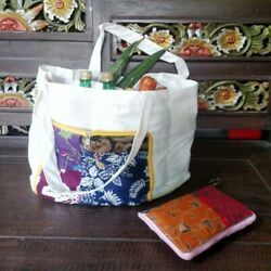 Grocery Shopping Tote Bag Foldable Handmade Natural Materials Eco-friendly