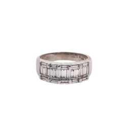 Pre-owned White Gold 3 Row Baguette Diamond Ring