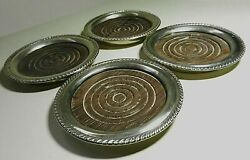4-antique Sterling Silver Coasters W/ Gadroon Rims 3.75 Wood Inserts Gumps