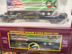 Brand New 2 Pack Mth Premier Csx Remember, Honor And Teach Flat Car W/ Trailer