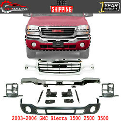 Front Grille + Chrome Bumper With Brackets + Valance For 2003-06 Gmc Sierra 1500