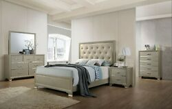Queen Size Bed 5pc Bedroom Furniture Set Pu And Champagne Button Tufted Headboard