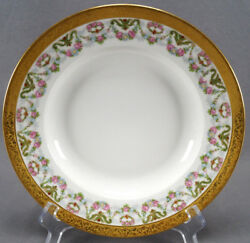 Pl Limoges Dulany Co Baltimore Pink Rose And Blue Daisy Garlands And Gold Deep Plate