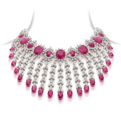 Beaurtiful Indian Wedding Style Choker Necklace With Deep Pink Ruby And White Cz
