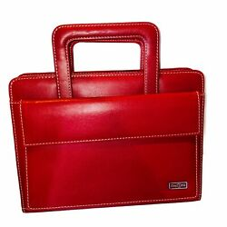 Franklin Covey Day One Red Planner Organizer Retractable Handle 7 Ring 8 X 10