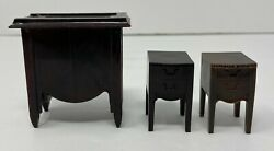 Vintage Lot Of 3 Renwal Dollhouse Miniature Sewing Machine And Two Side Tables