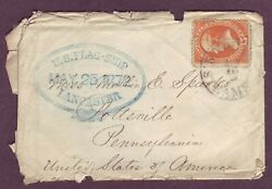 Navy Mail 1872 W Flagship Lancaster And Steamship Cancels On Engr H. Parker Cover
