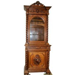 Antique Bookcase, French Carved Oak Bookcase With Carved Game, Cabochon, 1800s