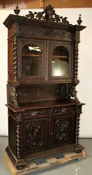 Antique Sideboard / Server, French Louis Xiii Carved Oak Buffet, 19th C 1800s