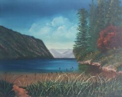 Original And Vintage Kathy Kendall Scenic Lake And Forest Landscape Painting