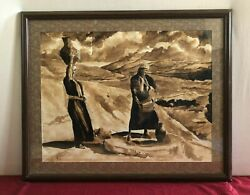 Handmade Painting With Coffee, Women Planting Wheat Seeds At Bethlehem Fields