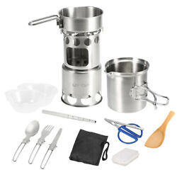 Lixada 12pcs Camping Cookware Mess Kit Outdoor Portable Stainless Steel N6s2