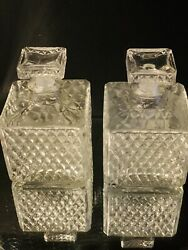 Vintage Small Square Diamond Point Clear Glass Decanters W/stoppers - Set Of 2