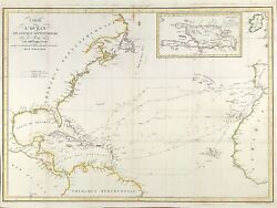 C1828 Scarce Map Of Atlantic Ocean Routes Followed By Christopher Columbus