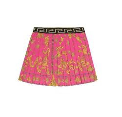 Young Versace Girls Pink Baroque Print Pleated Skirt