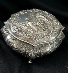 Antique Dutch 800 Silver Box Hand Chased Large Beautiful Marked Art Nouveau