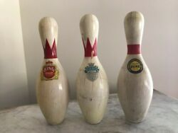 Vintage Set Of King, Queen And Duke Bowling Pins